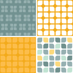 Vector abstract gray yellow rounded squares set of four marching