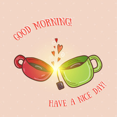 Good morning - kissing cups vector illustration