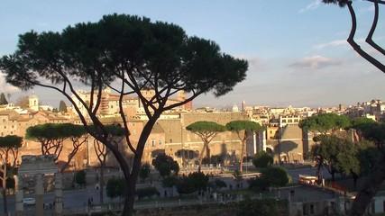 Roman Forum & Trajan's Forum across Via dei Fori Imperiali. Rome
