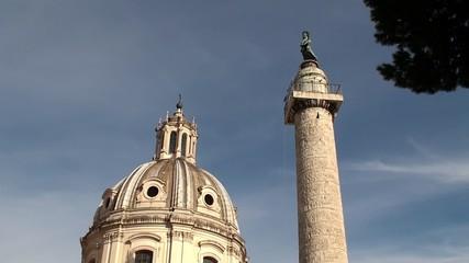 Trajan's Column & St Maria di Loreto church. Rome