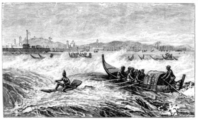 Victorian engraving of coast of Chennai (Madras), India
