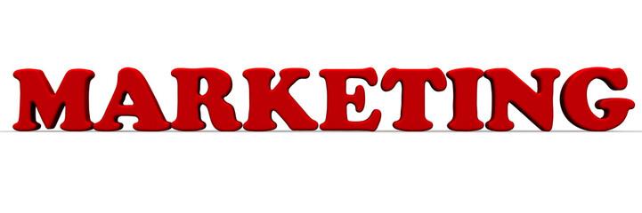 Маркетинг (marketing). Красное слово на светлой поверхности