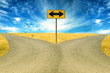 two roads, road sign ahead with arrows blue sky background - 77106003
