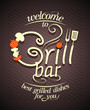 Grill bar card design.
