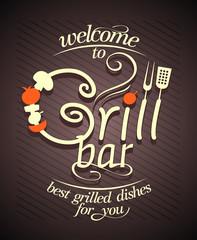 Grill bar card design.