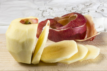 peeled and sliced apple