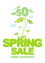 Spring sale design template. Fresh discounts.