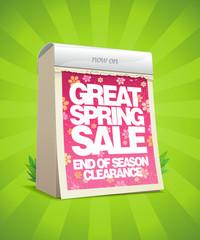 Spring sale design in form of calendar.