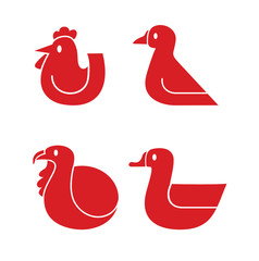 Set of various poultry vector icons