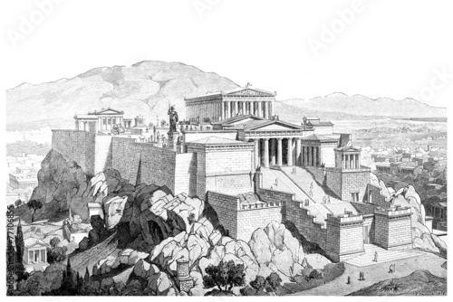 Victorian engraving of the Acropolis at Athens