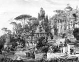 Victorian engraving of an opulent Roman villa poster