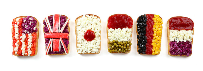 Sandwiches with  different flags isolated on white