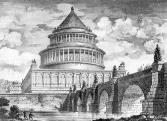 Victorian engraving of the Castel Sant'Angelo, Rome