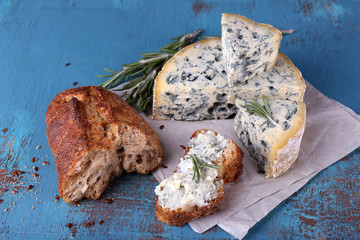 Blue cheese with sprigs of rosemary and bread