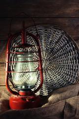 Kerosene lamp with wicker mat and burlap cloth