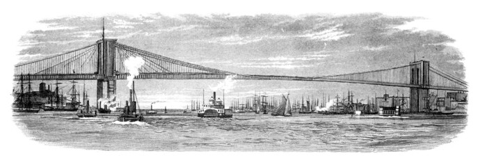 19th century engraving of the Brooklyn Bridge