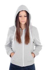 Sad teenager girl with gray sweatshirt hooded
