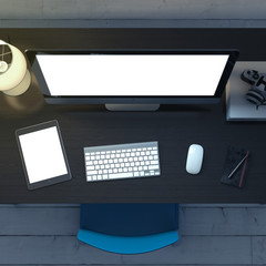 Workplace with a computer in dark room