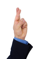 Businessman's Hand With Finger Crossed