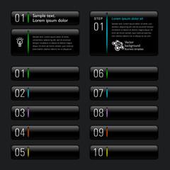 Infographics Web Banner & Label Design #Black Buttons