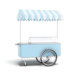 Blue ice cream cart