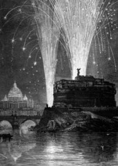 19th century engraving of St. Peter's and Castel Sant'Angelo