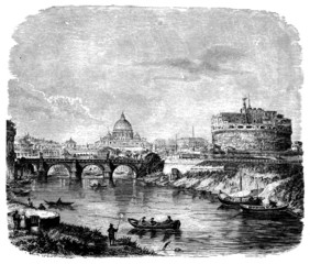 19th century engraving of a view of Rome, Italy