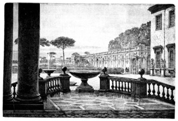 19th century engraving of the French Academy in Rome, Italy