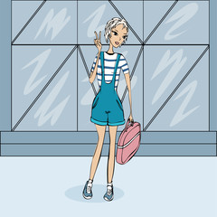 Illustration of a girl in sneakers