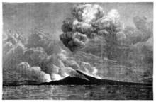 "Постер, картина, фотообои ""19th century engraving of an eruption at Mt. Vesuvius, Naples"""