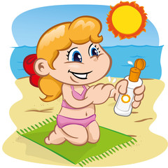 Character child in passing sunscreen at the beach