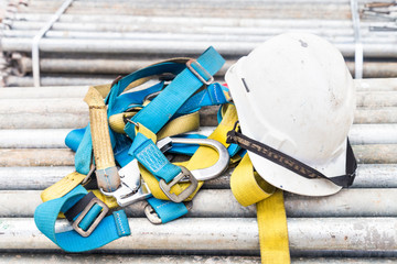 Safety helmet and harness at a construction site
