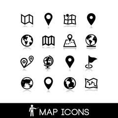 Maps and pins icons set 5