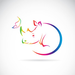 Vector image of rhino and butterfly on white background
