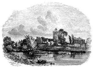 19th century engraving of Bray church, Berkshire, UK