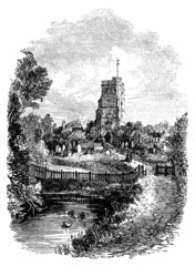 19th century engraving of All Saint's Church, Fulham, London, UK