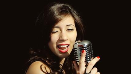 Music woman singer confident wink