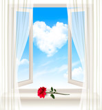 Background with an open window and a red flower. Vector. poster