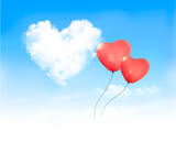 Holiday background with heart shape of cloud on blue sky and red poster