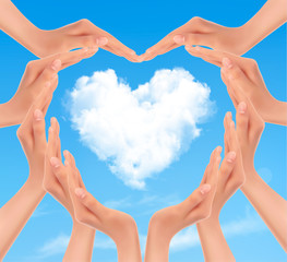 Holiday background with hands making a heart. Valentine's Day. V