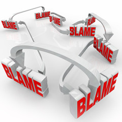 Passing Blame Arrow Words Accusing Others Denying Responsibility