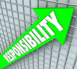 Responsibility Word Green Arrow Rising Accepting Obligation Acco
