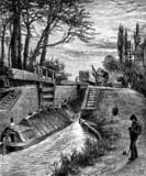 19th century of a canal lock near Berkhampstead, Hertfordshire, poster