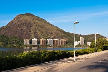 Empty Bike Path with Scenic Urban Landscape