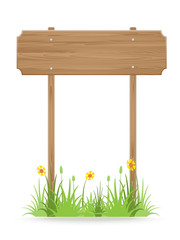 Wooden signpost on grass with flower isolated on white