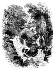 19th century engraving of a babbling brook