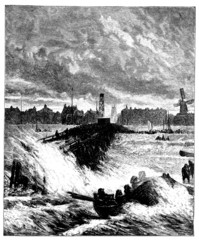 19th century engraving of Great Yarmouth harbour, Norfolk, UK