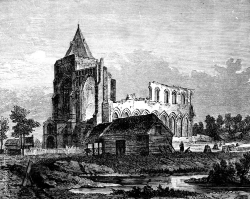 19th century engraving of Crowland Abbey, Lincolnshire, UK - 77115429