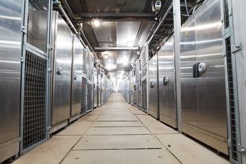 electric boxes corridor of industrial building