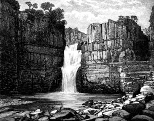 19th century engraving of a Yorkshire pool, UK